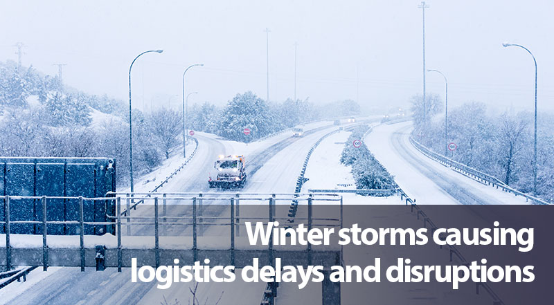 Texas winter storms and in other parts of the South are causing logistics delays and disruptions